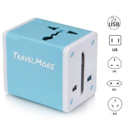 Action Wereldstekker met 2 USB-poorten - Blauw - 2 pack