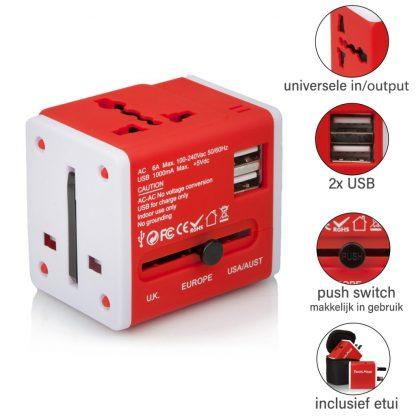 Action Wereldstekker met 2 USB-poorten - Rood - 2 pack