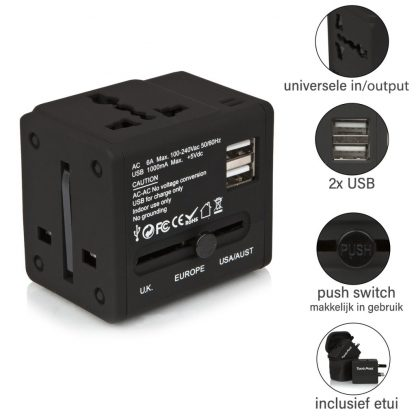 Action Wereldstekker met 2 USB-poorten – Zwart - 2 pack