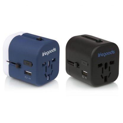 Universele Wereldstekker met 4 USB-poorten - Blauw